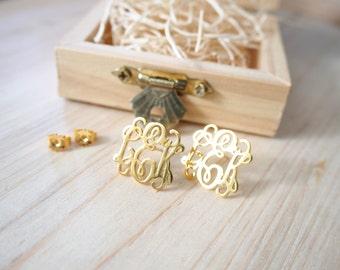 20% OFF Personalized Monogram Earrings in Sterling Silver - Monogram Earrings - Initials Earrings - Monogram Stud Earrings
