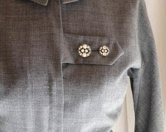 1950s dress / 50s grey wiggle dress with rhinestone buttons medium