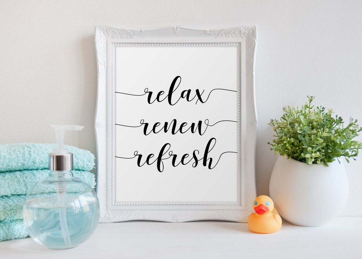 Bathroom decor relax renew refresh bathroom quote bathroom for Renew bathroom
