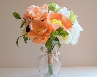 Paper flower bouquet, wedding bouquet, wedding, arrangement, bridal bouquet, crepe paper, paper flowers, rose, Ranunculus, Peony, eucalyptus