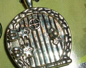 Sale Pendant/Medallion elf or Hobbit door (round)-Altsilbern-25x30mm-was Euro 7.50