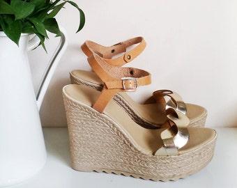 High heel wedges, Braided Platform Sandals, Espadrilles Sandals, Wedge sandals, Leather Sandals, gold braided platform sandals by Almyra