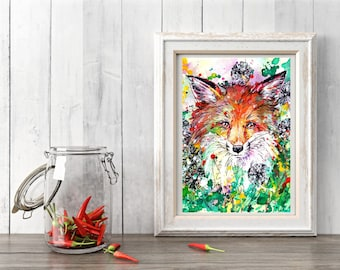 Fox art print - Hide and Seek