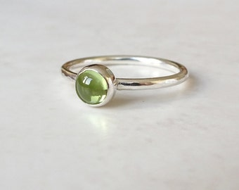 Sterling Silver Peridot Ring - Peridot Stacking Ring - Silver Stacking Ring - August Birthstone Ring - Green Gemstone Ring