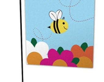 Bumblebee Flower Garden Flag - Durable All - Weather Material. Display Indoors or Outdoors