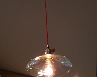 """8"""" Glass Cone Shade Pendant - Polished Nickel"""