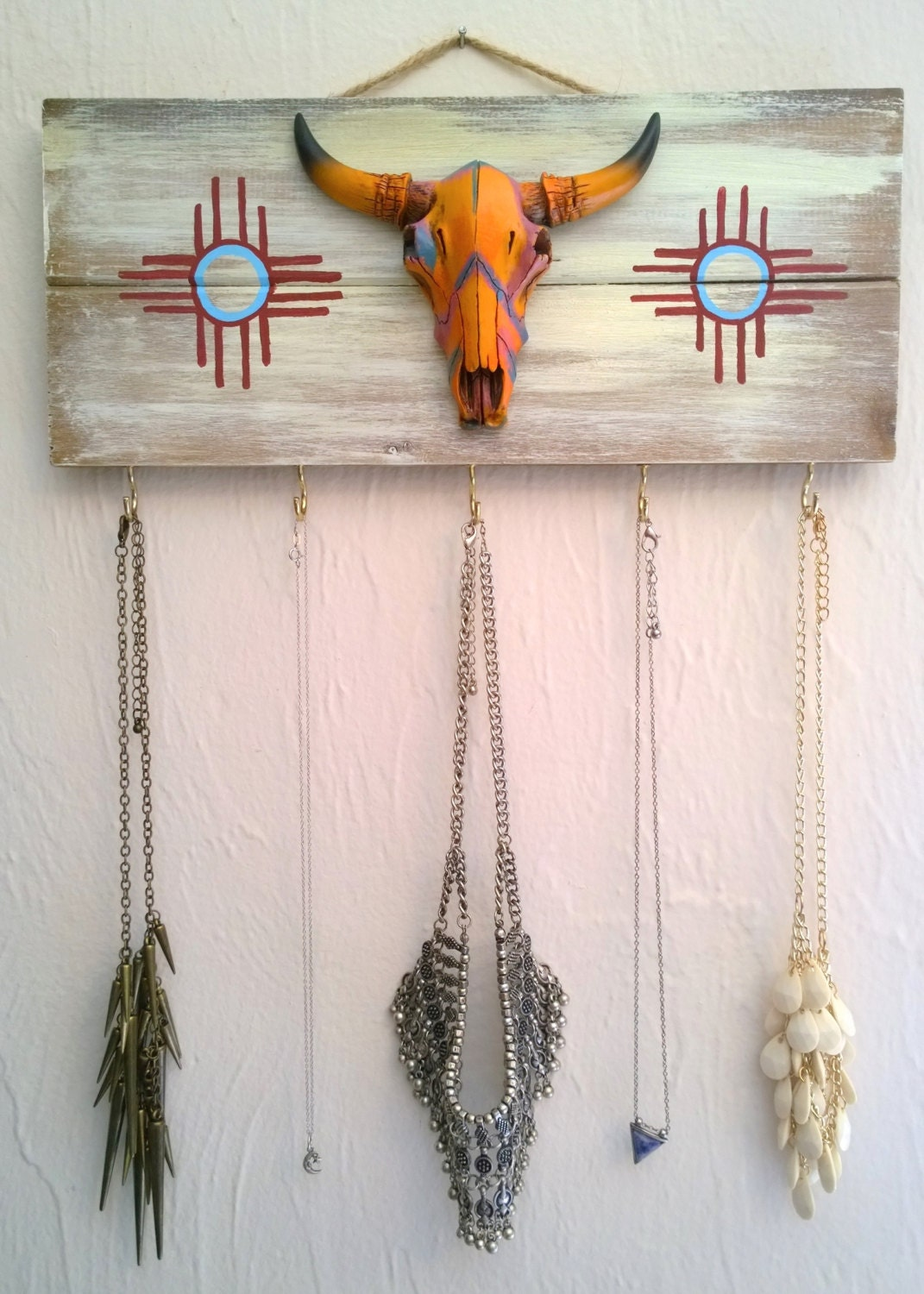 Longhorn Skull Art Jewelry Display Texas Decor Necklace