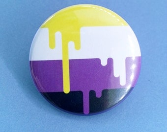 Button - Nonbinary LGBT Gender Identity Queer Pride Flag!