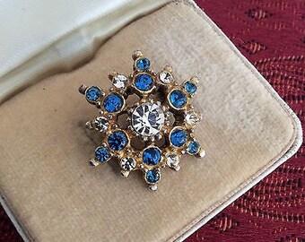 Sparkling Blue Topaz & Clear Rhinestone Brooch