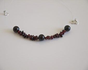 925 Silver, Garnet, nylon necklace, bordeaux, floating, women necklace, gift