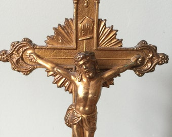Vintage Gold Tone Metal Standing Crucifix. Jesus on the Cross. Christian Object. Home Altar