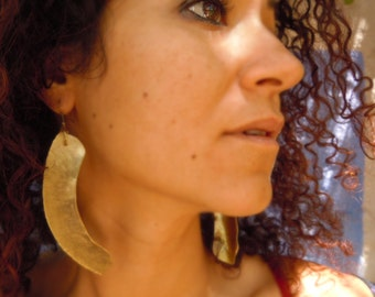Hand forged brass earrings