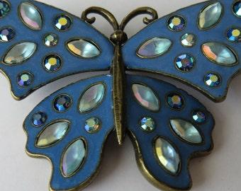 Vintage Avon Butterfly Brooch Avon Pin Vintage Jewelry Butterfly Pin Costume Jewelry Avon Blue Rhinestone Butterfly Brooch Avon Jewelry Pin