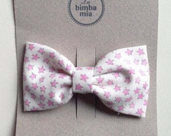 Pink and white fabric bow hair clip, Clip/medium Fabric Hair Bow White and Pink, Medium