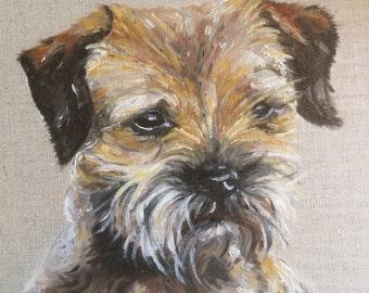 Border Terrier, Dog, Pet, Animal, Oil, Painting, Portrait, Original, Art