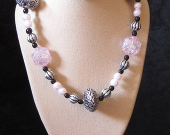 """18"""" Beaded Necklace (Pink-Black-Silver Colours) (PH9)"""
