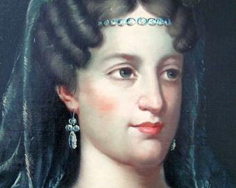 Victorian Oil Painting Queen Louise of Prussia ? Queen Mary 1? Signed G. Serrure