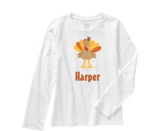 CUSTOMIZABLE Thanksgiving Shirt, Girl Turkey Shirt, Boy Turkey Shirt, Girl Fall Shirt, Boy Fall Shirt, Sibling Thanksgiving Outfits