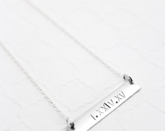 Roman Numeral Necklace, Roman Numeral Wedding Date, Custom Bar Necklace, Date Bar Necklace, Gold Bar Necklace, 1st Anniversary Gift for Wife