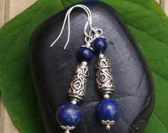 Lapis Lazuli Earrings With Tibetan Silver Bead