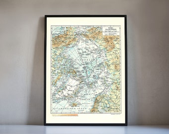 North Pole print vintage style, mid century the North Pole map in German, Geographic North Pole map wall art, digital print wall decor map
