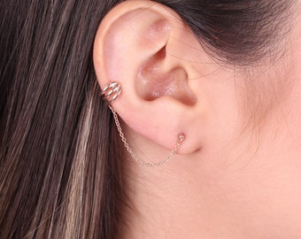 Classic Ear Cuff / Sterling Silver Ear Cuff chain / Cartilage