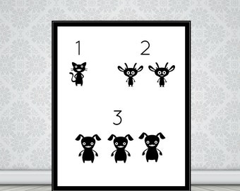 123 Monsters Nursery wall Art-decor picture printable instant digital  download