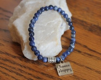 Blue Sodalite Stretch Bracelet with charm