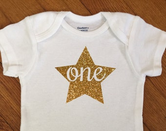 SALE! First Birthday Star Shirt, 1st Birthday Outfit, Glitter One Birthday Bodysuit, First Birthday Onesie®, 2nd Birthday, Party Photos