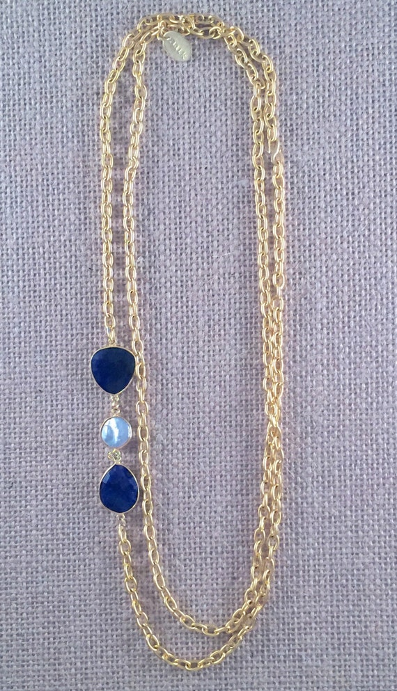 """Sapphire & Baroque Freashwater Pearl Gemstone Link Chain Necklace - 22K gold plated - 42"""" long - Double Wrap - Long - LINDOS 1"""