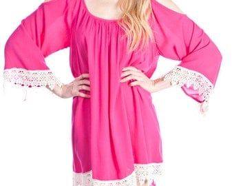 Monogram Tunic. Hot Pink Tunic. Personalized Tunic.