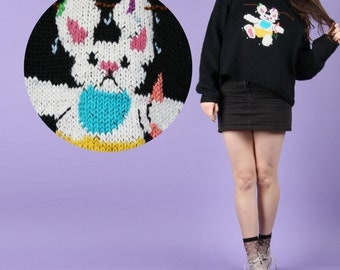 90s Vintage Hand Knit Bunny Rabbit Jumper