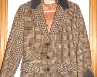 Vintage 1950s Houndstooth Tweed Blazer w/ Corduroy Trim