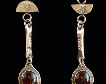 Hand Formed, Garnet Earrings