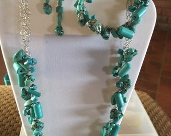 45 Turquoise on silver wire