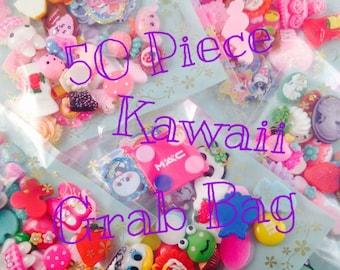 50pc Kawaii Cabochon Sticker Flake Grab Bag Assorted Mix Scrapbook Decoden Flatback Sticker Lot Resin Craft DIY