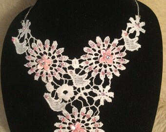 White and Pink Lace Necklace