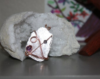 Handcrafted Copper Wire Wrapped Crystal Pdendant LEPIDOLITE PEACE Stone, Heart