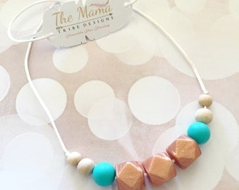 Teething Necklace | Nursing Necklace for Mom | New Mom Gift | Silicone Teething Necklace | Teething Jewelry | BPA Free | The Addie- Rose Gol