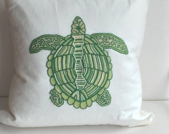 Sea Turtle Pillow Cover, Coastal Nautical Pillow Case, Decorative Pillow, Hand Made, 20x20, White & Green, insert included