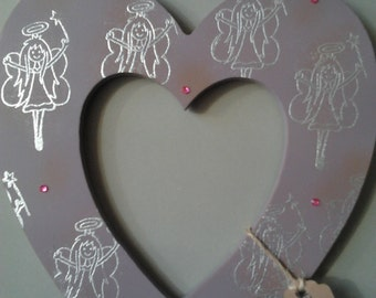10 inch Lilac distressed Fairy 'wish' hanging heart with pink/silver distressed fairy detail