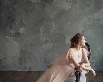 Blush pink wedding dress - Mirtselia    Pink wedding dress    Pink wedding gown