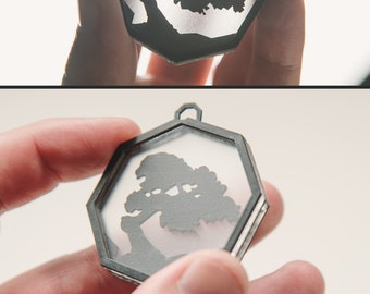Foggy Bonsai - vinyl record necklace