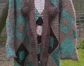 Bohemian Hippie Festival Crochet Granny Squares Coat
