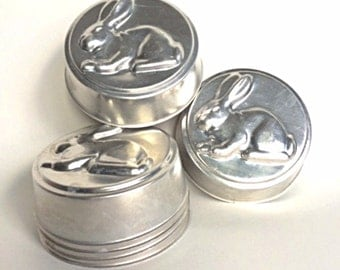 Aluminum Bunny Rabbit Tins/Molds, Set of Six, Perfect for Easter, Baby Shower, Spring, Crafts