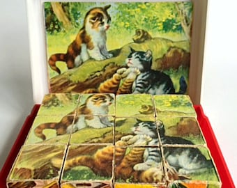 Vintage West German Wood Block Puzzle Set, Box and Picture Guides Included