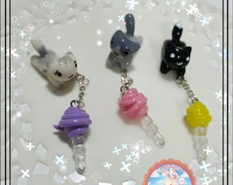 Handmade Kawaii Kitty Dust Plug, Kawaii Kitty, Clay Kitty