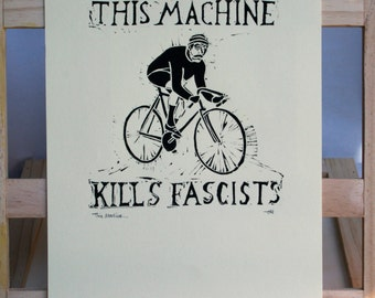 This Machine...Vintage Cyclist Linocut Print, Hand Made