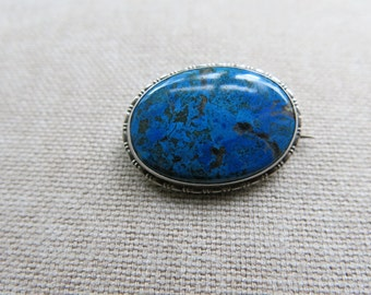 Lapis lazuli and sterling silver brooch, made in Germany c1910