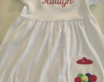 Girls Bubble Gum Machine Dress with custom name